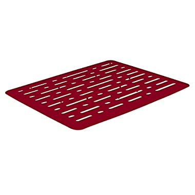 Rubbermaid Antimicrobial Sink Mat, Small, Red Lines