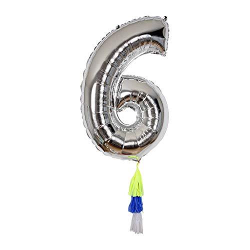 Ballon chiffre 6 avec pompons - Meri Meri