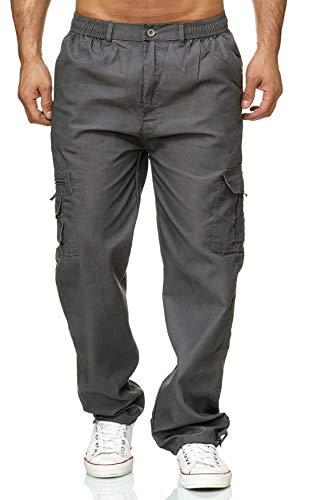 ArizonaShopping Max Men Herren Cargo Hose Stoffhose Trekking Pants Dehnbund, Farben:Grau, Größe Hosen:M