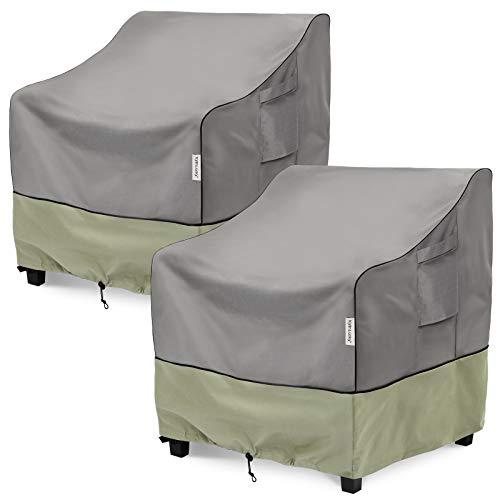 KylinLucky Cubiertas para sillas de patio, cubiertas impermeables para muebles de exterior hasta 32 pulgadas de ancho x 37 pulgadas de profundidad x 36 pulgadas de alto, paquete de 2