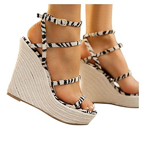 Soolike Sandalia de Cuna para Mujer, Forrada de Yute, Zapatos Verano Mujer Comodos Cuñas Primavera Verano 2021,con Punta Cerrada, y Cierre de Hebilla, Cinturón Cruzado,Trenzado con Cuerda de C