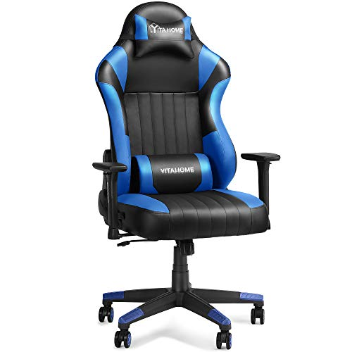 YITAHOME Gaming Chair Big and Tall Heavy Duty 400lbs Ergonomic Video Game Chair Racing Style High Back Office Computer Chair with Headrest and Lumbar Support,Blue