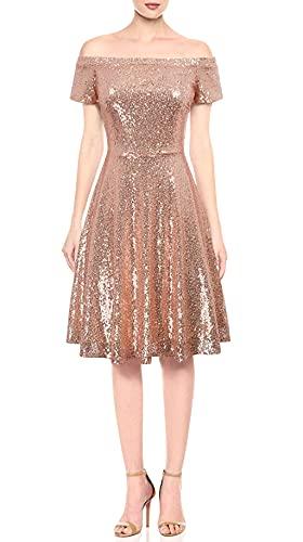 GRACE KARIN Women Sequin Short Sleeve Ruched A-Line Pro Dress Size M,Rose Gold