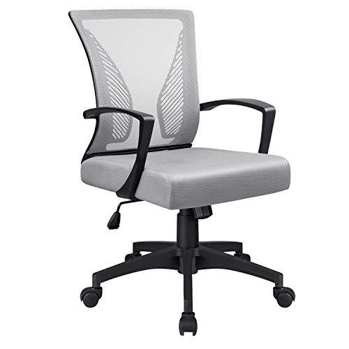 VICTONE Office Mid Back Mesh Chair Ergonomic Swivel Lumbar Support Desk Computer Chair (Grey)