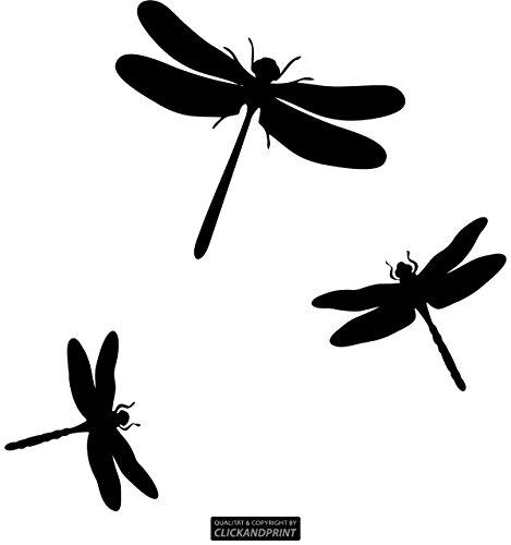 CLICKANDPRINT Aufkleber » Libellen, 20x19,7cm, Schwarz • Wandtattoo/Wandaufkleber/Wandsticker/Wanddeko/Vinyl