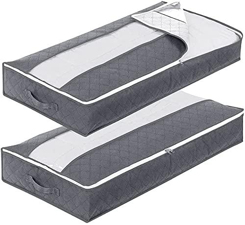 Unterbettkommode Aufbewahrungstasche 2 Stück 90L Unterbett Aufbewahrungsbox mit Griff und Reißverschluss und Waschbar Zusammenklappbar 100 x 50 x 15 cm für Kleideraufbewahrung & Organisation