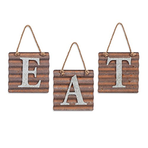 Rustic Farmhouse Wall Metal Kitchen Eat Letter Sign