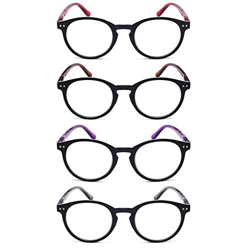 LGQ Paquete de 4 Gafas de Lectura con Montura Redonda para hipermetropía, cómodas Gafas de Lectura HD, Gafas de Moda para Hombres y Mujeres, dioptrías +1,00 a +3,00,Mixing,+2.50