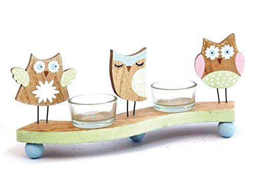 meindekoartikel Süße Teelichthalter aus Holz - mit Tulpen oder Eulen - für 2 Teelichter (Eulen - Breite 26cm)