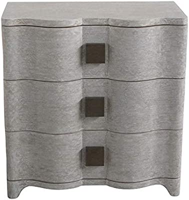 Global Views Linen Wrapped MidCentury Gray Bedside Table | Chest Drawers Fabric Silver Curved