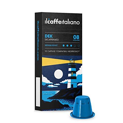 Nespresso, 100 Kaffeekapseln mit dem Nespresso System kombpatible - Il Caffè Italiano - Mischung Dek (koffeinfreier Kaffee), Intensität 8