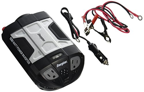 ENERGIZER 500W Power Inverter 12V DC cigarette lighter or battery clips to 120 Volt AC with 2 USB...