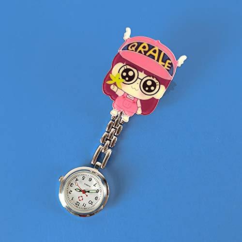 Reloj de Bolsillo con Broche,Reloj de Bolsillo médico portátil, Reloj de Pecho pequeño y Simple a Prueba de Agua, Rojo sandía,Reloj de Enfermera Resistente al Agua
