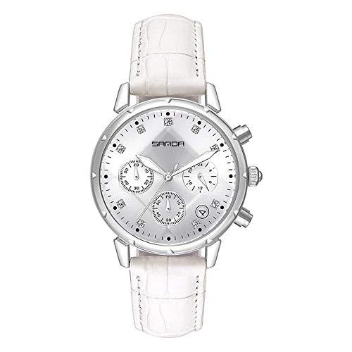 SANDA Relojes Hombre,Bola de Tendencia con Reloj de cinturón Casual de Diamante de Aguja.-Plata
