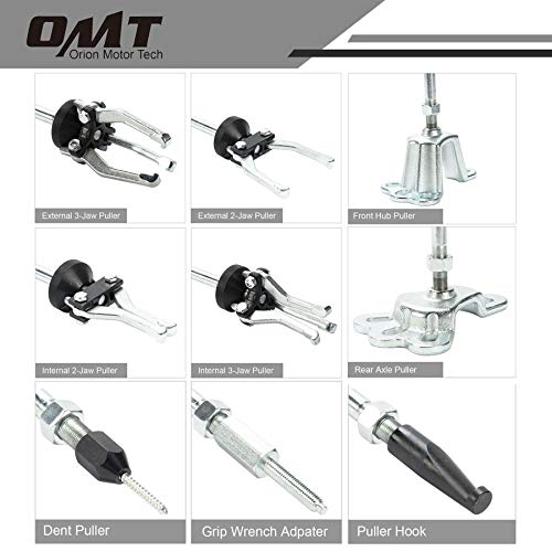 Slide Hammer, Orion Motor Tech 9-Way Internal/External Slide Hammer Puller Set - Pulls Hubs, Rear Wheel Axle Shafts, Bearings, Bushings, Seals, Retainers