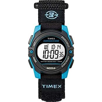 Timex Unisex TW4B12900 Expedition Mid-Size Digital CAT Black/Blue Fast Wrap Strap Watch