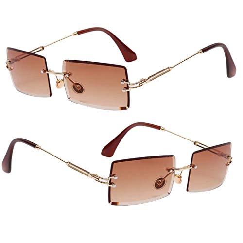 Generic 2 óculos de Sol Feminino com Corte Retangular Sem Aro óculos de Lentes Coloridas Retrô UV400 Café