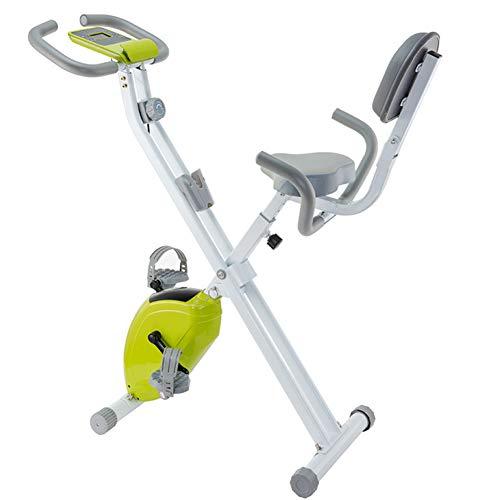 BAIAA Bicicleta Fitness Plegable Bicicleta de Ciclismo Indoor con Resistencia Ajustable con Monitor LCD y Soporte para Tableta Equipo de Ejercicios Aeróbicos para Bicicletas (Green)