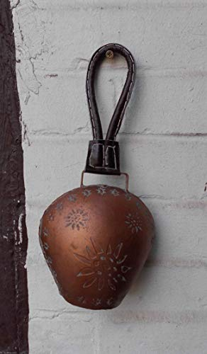 Glockenschelle Eisen 25 cm Klangvolle Kuhglocke grau Lederband