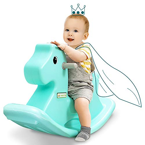 EastSun Early Educational Baby Rocking Horse Toy, Plastic Horse Seat for Kids to Swing, Trojan Horse Balance Chair for 2 3 Years Old+ Toddler Boy&Girl to Ride On