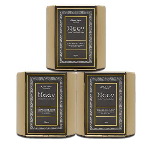 Neev Herbal Handmade Soaps Charcoal Soap (75gms) - Set of 3