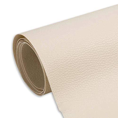 Myuilor Pegatinas de cuero para sofá, pegatinas de reparación de cuero autoadhesivas, cuero de simulación utilizado en sofás, muebles, asientos de conductor (blanquecino, 19.7 x 54 pulgadas)