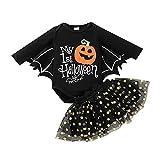 Bebé niñas 2 Piezas Navidad Vestido para Niña Tutu Falda Conjuntos Ropa bebé Set Vestido de falda con estampado de Halloween vestido de princesa Falda corta + Mono de murciélago de calabaza