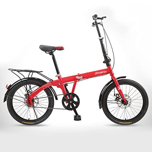 Bicicletas Plegable Adultos 20 Pulgadas Ligera para Estudiantes Niños (Color : Red, Size : 20inches)