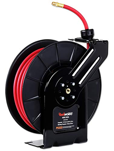 REELWORKS Air-Hose-Reel Retractable 1/4' Inch x 65' Feet Extra Long Premium Commercial Flex Hybrid Polymer Hose Max 300 Psi Compressor Polypropylene Drum Construction Heavy Duty Industrial Sprin