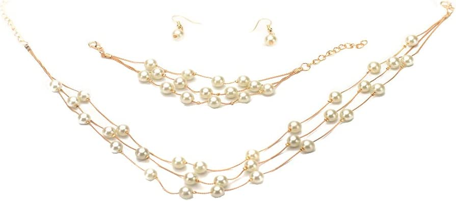 Pearl Wedding Jewelry Sets for Brides Bridesmaids Jewelry Set for Wedding Prom Jewelry Sets Gold Layered Pearl Chain Necklace Bracelet and Dangle Earrings Set