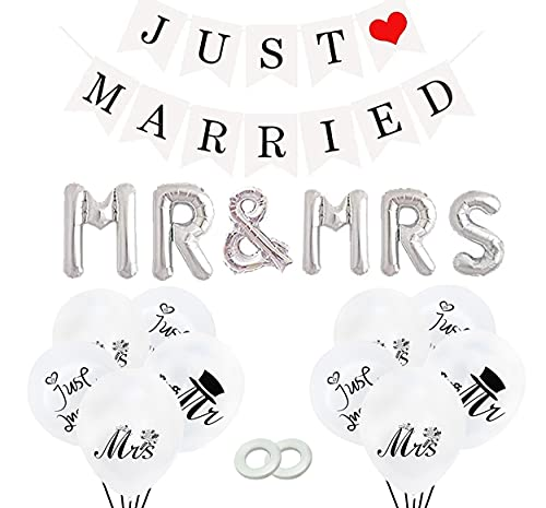 Just Married Decoracion,Globos de Papel de Aluminio,Just Married Banner,Globos Boda Just Married,Globos Blancos Boda para Decoración de Bodas