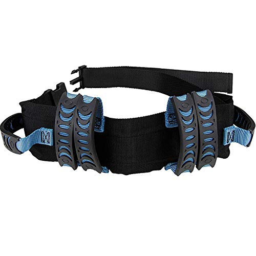 Gait Belt Walking Transfer belt with 6 Plastic Padded Caregiver Handles and Quick Release Buckle for Patient,Elderly Physical Therapy (Black)