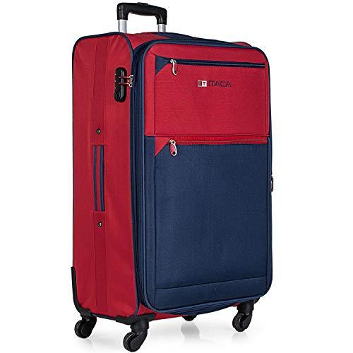 ITACA - Maleta de Viaje 4 Ruedas Grande XL Trolley 78 cm Poliéster EVA. Extensible. Blanda, Resistente y Ligera. Mango, 2 Asas. Candado. Estudiante y Profesional. 701070, Color Rojo-Azul Marino