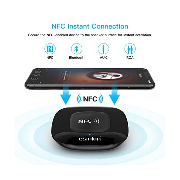 Bluetooth Receiver Wireless, NFC-Enabled Audio Adapter 4.0 for HD Home Stereo Music Streaming Sound System for 3.5mm (AUX and RCA) 6
