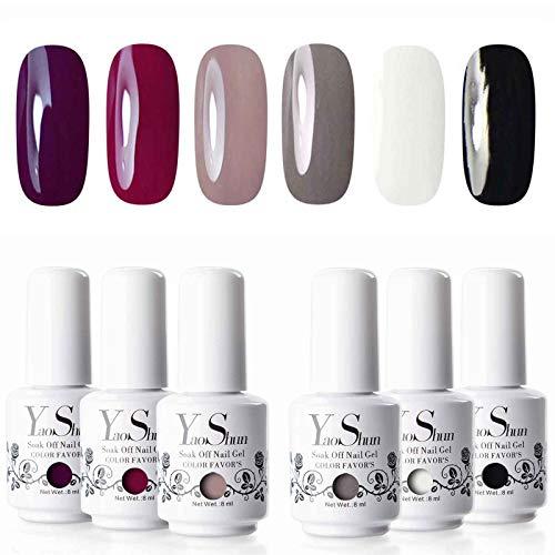 Vernis Gel Semi Permanent - Y&S UV LED Vernis à Ongles Soak Off Manucure Nail Art Cadeau Lot 6 Couleurs X 8ml Kit 26