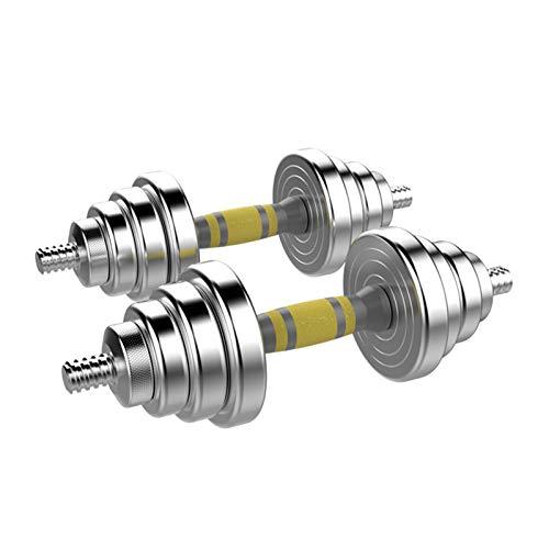 bjyx Haltères en acier nickelé, réglables en paires, combinaison d haltères multifonctions 2 en 1 pour homme et femme Taille 40 kg