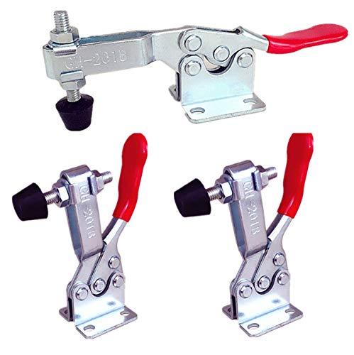 Liuer 3 Stück rote-Toggle Clamp GH-201B Waagrechtspanner Schnellspanner Haltekraft Spannhebel Klemmen Handwerkzeuge Toggle Clamp