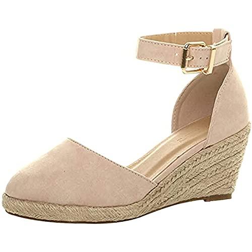 WECDS Sandalias de cuña de cuña para Mujer, Sandalias de cuña de Alpargatas con Correa de Hebilla y Punta Cerrada para Mujer, Zapatos con Punta de Casquillo