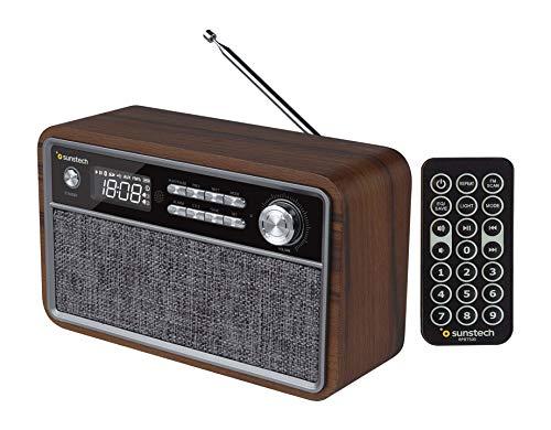 SUNSTECH RPBT500. Radio FM compacta de Madera con presintonías, Modo Reloj, Alarma Dual. Altavoz Bluetooth (v4.2) de Graves potentes, Manos Libres, USB, Micro SD y aux-in. Incluye Mando a Distancia.
