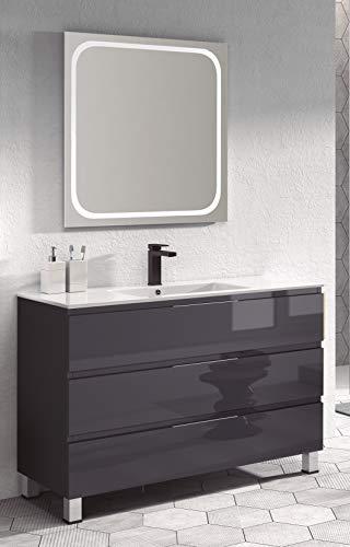 Juego de Mueble de Baño Modelo Austria Porcelana, Conjunto formado por Mueble de Baño Lacado en Antracita Ancho 100cm, Lavabo de Porcelana y Espejo a Juego