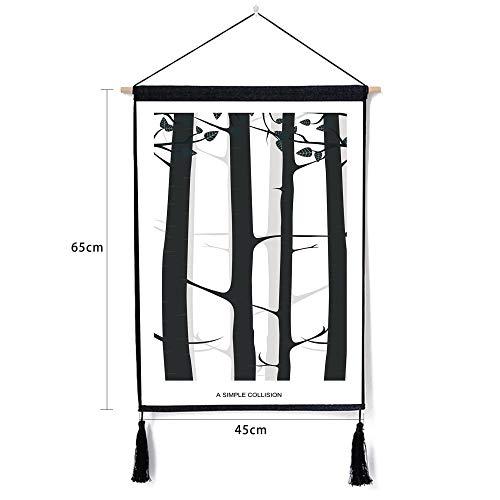 Baum des Lebens Sport Fitness Tuch schwarz und weiß malerei Baumwollgewebe Kunst Tier malerei Tapisserie e 46 * 65 cm