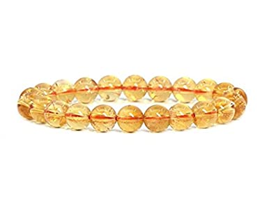 Natural Yellow Citrine Bracelet 7.5 inch Stretchy Gemstone Bracelet Chakra Gems Stones Healing Crystal Great Gifts (Unisex) GB8B-27