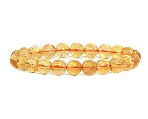 Natural Yellow Citrine Gemstone Beaded Bracelet 7 inch Stretch Chakra Gems Stones Healing Crystal Quartz Birthday Gift GB8-27