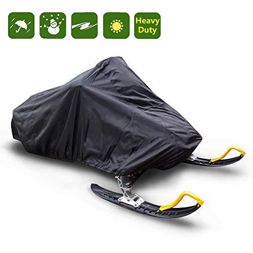 MILECN Universal-Schneemobilabdeckung, wasserdichte, Winddichte Hochleistungsschutzabdeckung mit elastischer Kordel, für Regen, Schnee, Wind, Staubschutz, schwarz