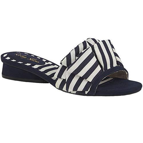 Ruby Shoo Ladies Alena Navy & White Stripe Slip on Low Heeled Mule Sandals 09292-UK 6 (EU 39)