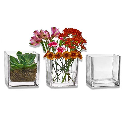 PARNOO Set of 3 Glass Square Vases 5 x 5 Inch – Clear Cube Shape Flower Vase, Candle Holders - Perfect as a Wedding Centerpieces, Home Decoration