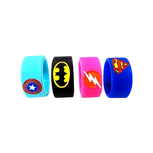 Vape Bands Rings, Silicone Superhero E Cigarette Bands for RTA RBA RDA Mechanical Mods Tank Rebuildable Atomizer, Non-Slip Ring, Protection Ring, Pack of 4 (Superhero Band)