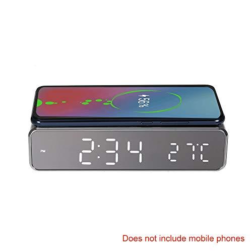Kecheer Reloj despertador de escritorio LED con cargador inalámbrico de termómetro para Samsung Huawei