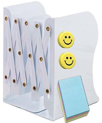 Qualsen Sujetalibros, Sujetalibros telescópicos de metal, soporte de libro para biblioteca escuela oficina en el hogar Oficina de trabajo Blanco