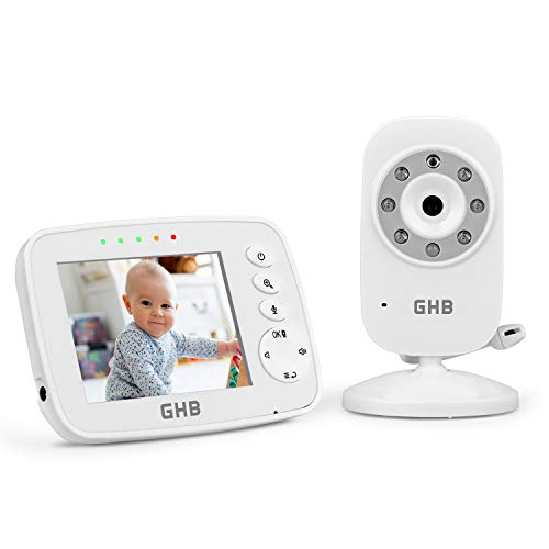 GHB Vigilabebés Inalámbrico con Cámara Visión Nocturna Monitor para Bebé Pantalla LCD de 3,2 pulgadas con Modo VOX, Sensor Temperatura y Canciones de cuna